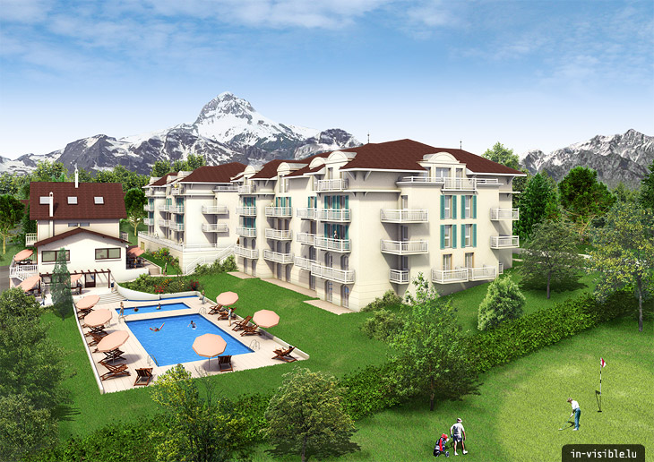 3D architectural visualization & rendering, Rendu de visualisation architecturale en image de synthèse 3D : Evian II